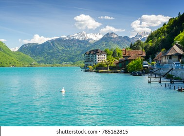 beautiful view on french Alps at lake Annecy, France