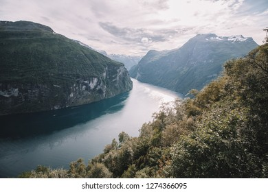 Beautiful view on the Geiranger Fjord in Geiranger, Norway