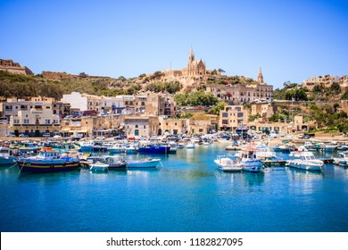 Beautiful view on Gozo island from a boat, postcard style, beautiful colors landscape