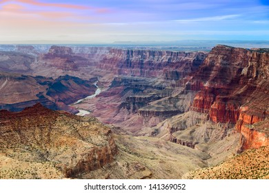 Beautiful view on Grand Canyon and Colorado river from Desert View point during sunset