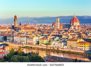 Beautiful view on hard of amazing Florence city and the Cathedral Santa Maria dl Fiore (Duomo), Florence, Italy