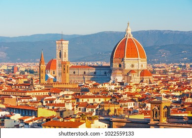 Beautiful view on hart of amazing Florence city and the Cathedral Santa Maria del Fiore (Duomo) at sunrise, Florence, Italy