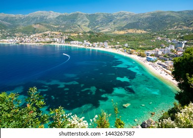 beautiful view on Himare on albanian riviera, Albania
