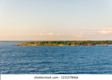 Beautiful view on the island with Kungsholms Fort (coastal artillery fortress for control of Karlskrona harbour). Location place: the Baltic Sea near Karlskrona, Sweden.