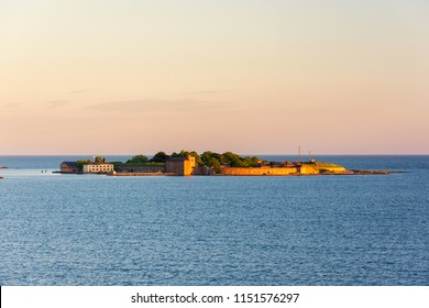 Beautiful view on Kungsholms Fort (coastal artillery fortress for control of Karlskrona harbour) on the island in the Baltic Sea near Karlskrona, Sweden.