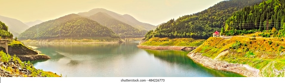 Beautiful view on lake in Capatanii mountains.