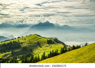 Beautiful view on Lake Lucerne, Mount Pilatus and Swiss Alps from top of Rigi Kulm in canton of Schwyz, Switzerland