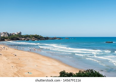 Beautiful view on the main beach of Biarritz at low tide. Basque country of France.