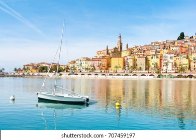 beautiful view on Menton town on french riviera, cote d'azur, south France
