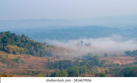 Beautiful view on mountain during sunrise at Khao Takhian Ngo, Khao Kho District, Phetchabun, Thailand