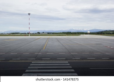 A beautiful view on mountains from the airport window in Trieste, Italy