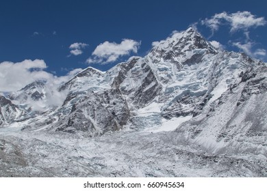 Beautiful view on mounts Lhotse, Nuptse and Khumbu glacier on a way to Everest base camp - Sagamartha national park, Khumbu region, Himalaya, Nepal