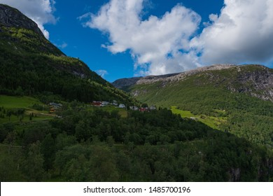 Beautiful view on Naeroydalen Valley and Peaks On Stalheim, Voss Norway. July 2019
