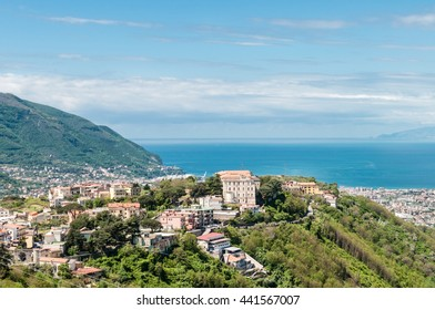 Beautiful view on the napoli gulf with country in first plan