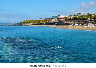 Beautiful view on ocean water near El Duque beach in Costa Adeje,Tenerife,Canary Islands,Spain.