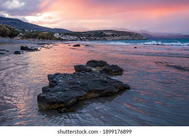 Beautiful view on Pachia Ammos Beach on the sunset with spectacular sky. Crete Island , Greece