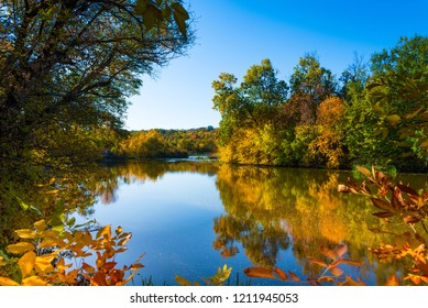 Beautiful view on the river in autumn