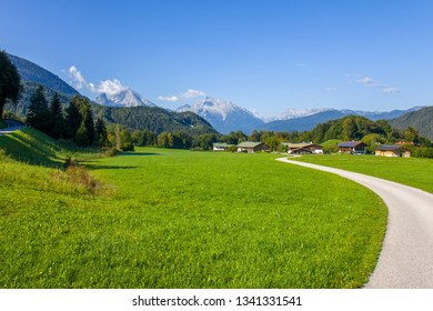Beautiful view on the road and village in Austria