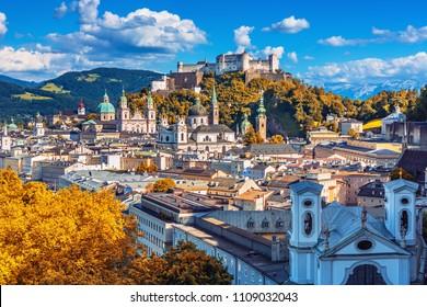 Beautiful view on Salzburg skyline with Festung Hohensalzburg herriage in the autumn, Salzburg, Austria