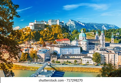 Beautiful view on Salzburg skyline with Festung Hohensalzburg in the summer, Salzburg, Austria