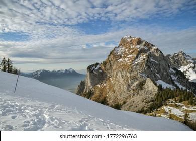 Beautiful view on snowy Grosser Mythen peak in canton of Schwyz in Switzerland as seen from Rotenflue