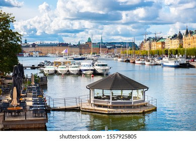 Beautiful view on Stockholm historical center from Baltic sea waterside.