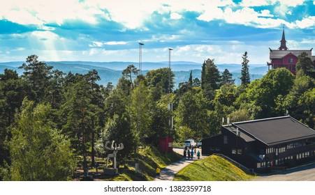 Beautiful view on sunny day in Holmenkollen, Oslo, Norway.
