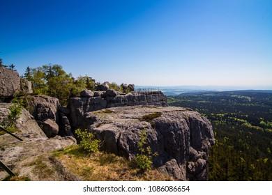 Beautiful view on Szczeliniec Wielki mountain. Sudety mountains in Poland