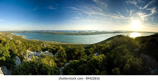 Beautiful view on Vrana lake and islands