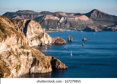 beautiful view on Vulcano island from Lipari island, Aeolian Islands, Italy