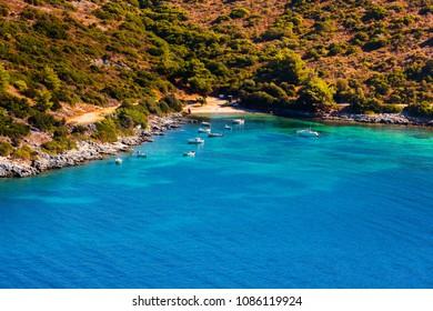 Beautiful view on wild beach on Samos, Greece