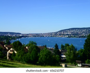 Beautiful view on Zurich and the lake of Zurich, Zurich, Switzerland