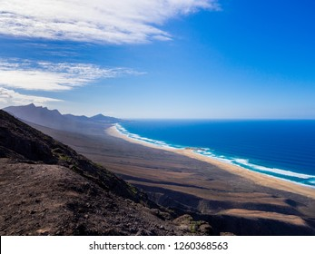 Beautiful view onto lovely Cofete beach at Fuerteventura, Spain.
