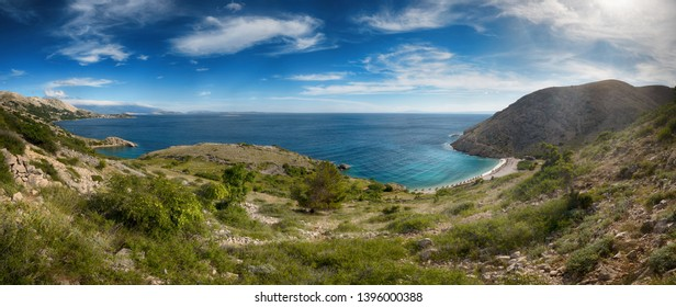 Beautiful view of Oprna Bay beach, Stara Baska, from the road, Krk Island, Croatia, super wide high resolution extra large panoramic image