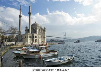 a beautiful view of Ortakoy Mosque and Bosphorus bridge in Istanbul, Turkey