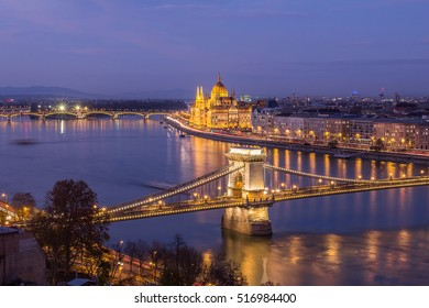 Beautiful view over Budapest on a colt winter evening. The lights are amazing and make this City very special.