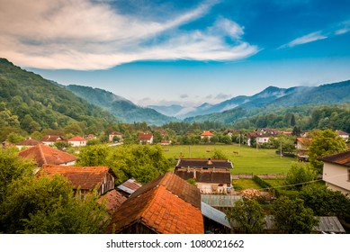 Beautiful view over Bulgarian village Ribaritsa, Lovech Province in Bulgaria. Excellent place for Ecotourism and nature exploring.