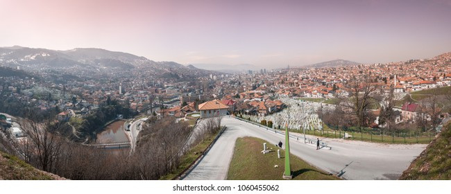 Beautiful view over city of Sarajevo in Bosnia and Herzegovina.