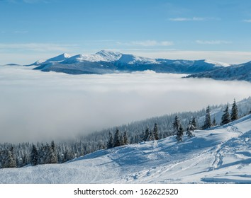 Beautiful view over the clouds in mountains