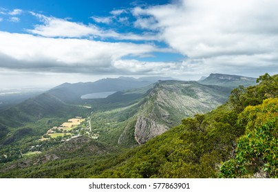 Beautiful view over Grampians National Park Australia. Impressive rock formations and eucalyptus forest.