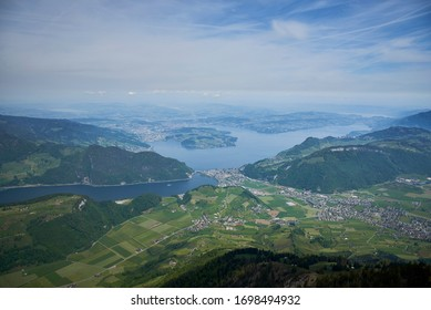 Beautiful view over the Lucerne Lake from the top of a mountain. Stanserhorn, Lucerne Lake, Alps, Switzerland.