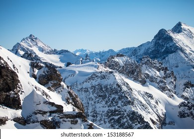 Beautiful view over mountains in the Swiss Alps. Titlis, Switzerland.
