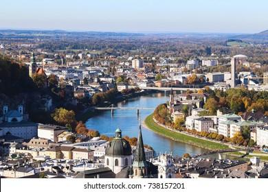 Beautiful view over Salzburg, Austria