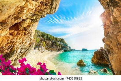 Beautiful view over the sea beach in Corfu island, Pelion, Mylopotamos, Greece