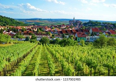 Beautiful view over the vineyards and the historic city of Mikulov, Moravia, Czech Republic. Southern Moravia is a popular tourist target mainly for its historic sights and beautiful nature.