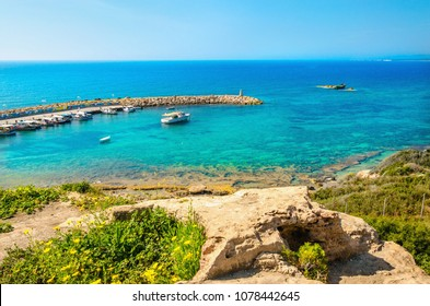 Beautiful view of Pachyammos  beach and bay with turquise water, Paphos, Cyprus