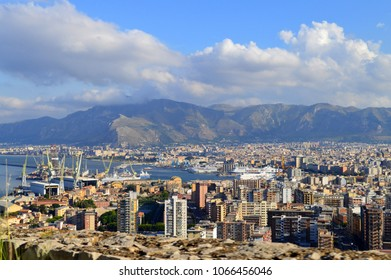 Beautiful View of Palermo Harbour from Mount Pellegrino, Sicily, Italy