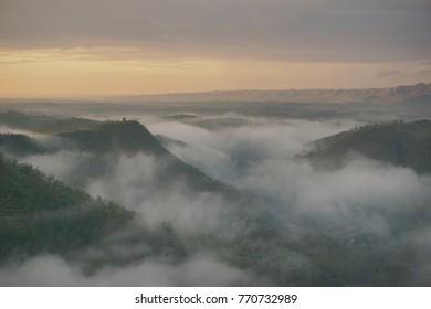 Beautiful view of Panguk Hill, Yogyakarta, Indonesia at sunrise