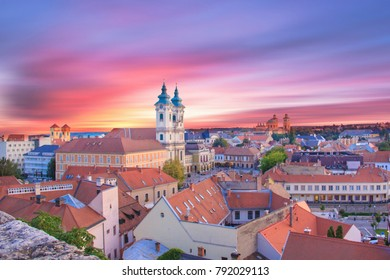 Beautiful view of the panorama of the city of Eger, Hungary, at sunset