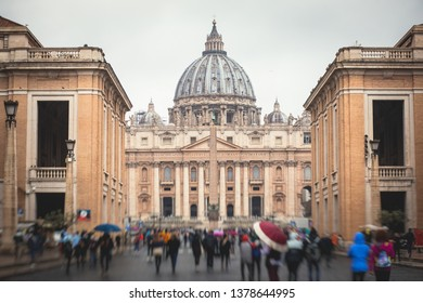 Beautiful view of Papal St. Peter's Basilica, Vatican City, Rome, Italy